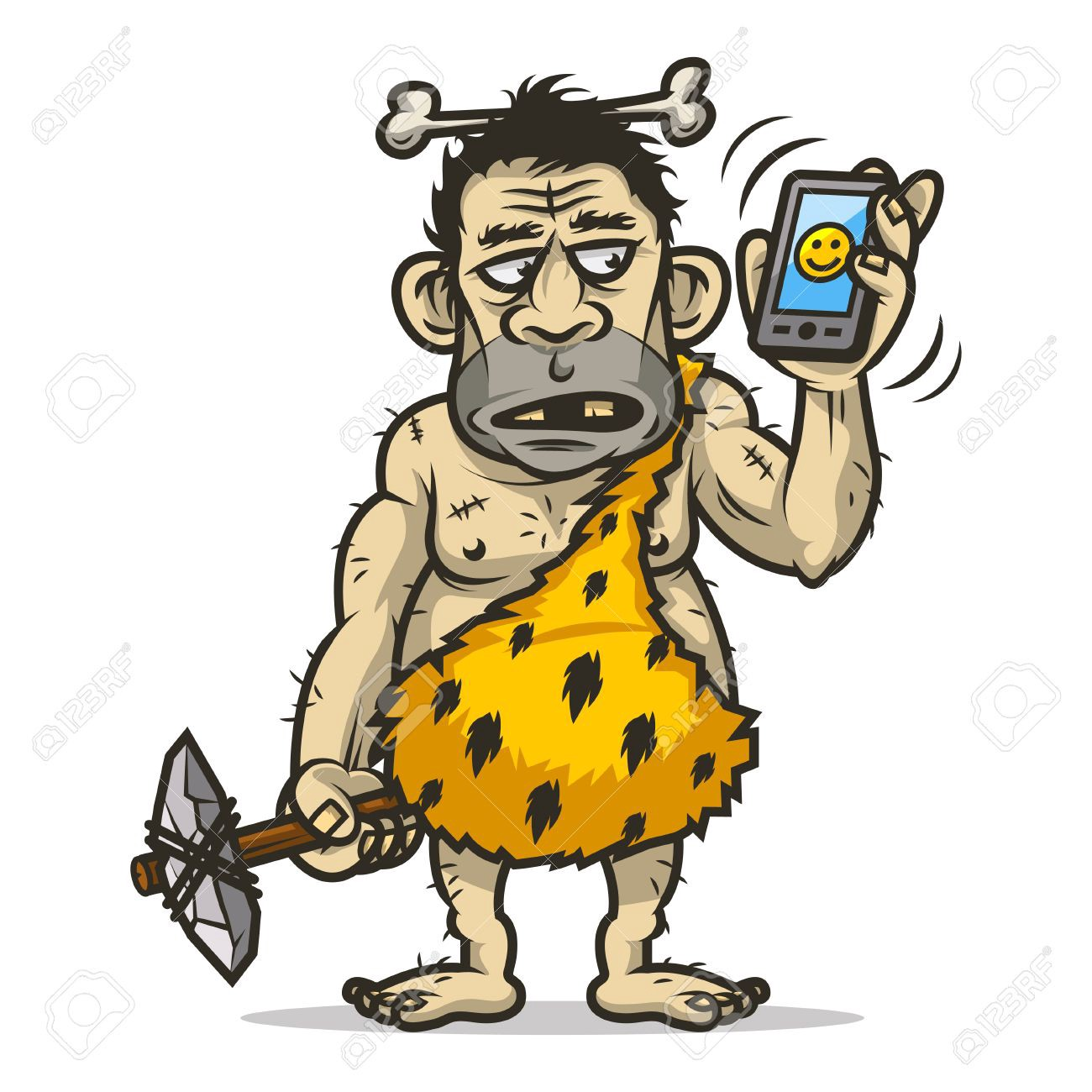 cartoon neanderthal with a smartphone