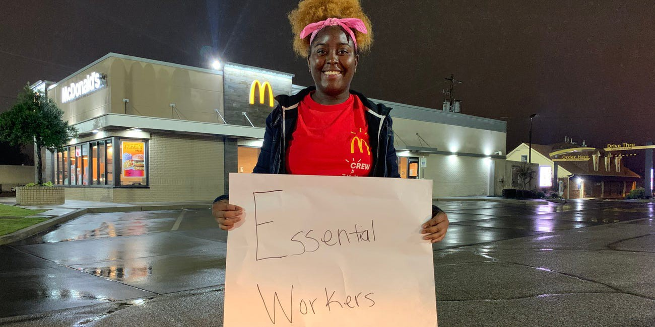 Karesha Manns, a McDonald's worker in Memphis, Tennessee, who is striking for $15 an hour.