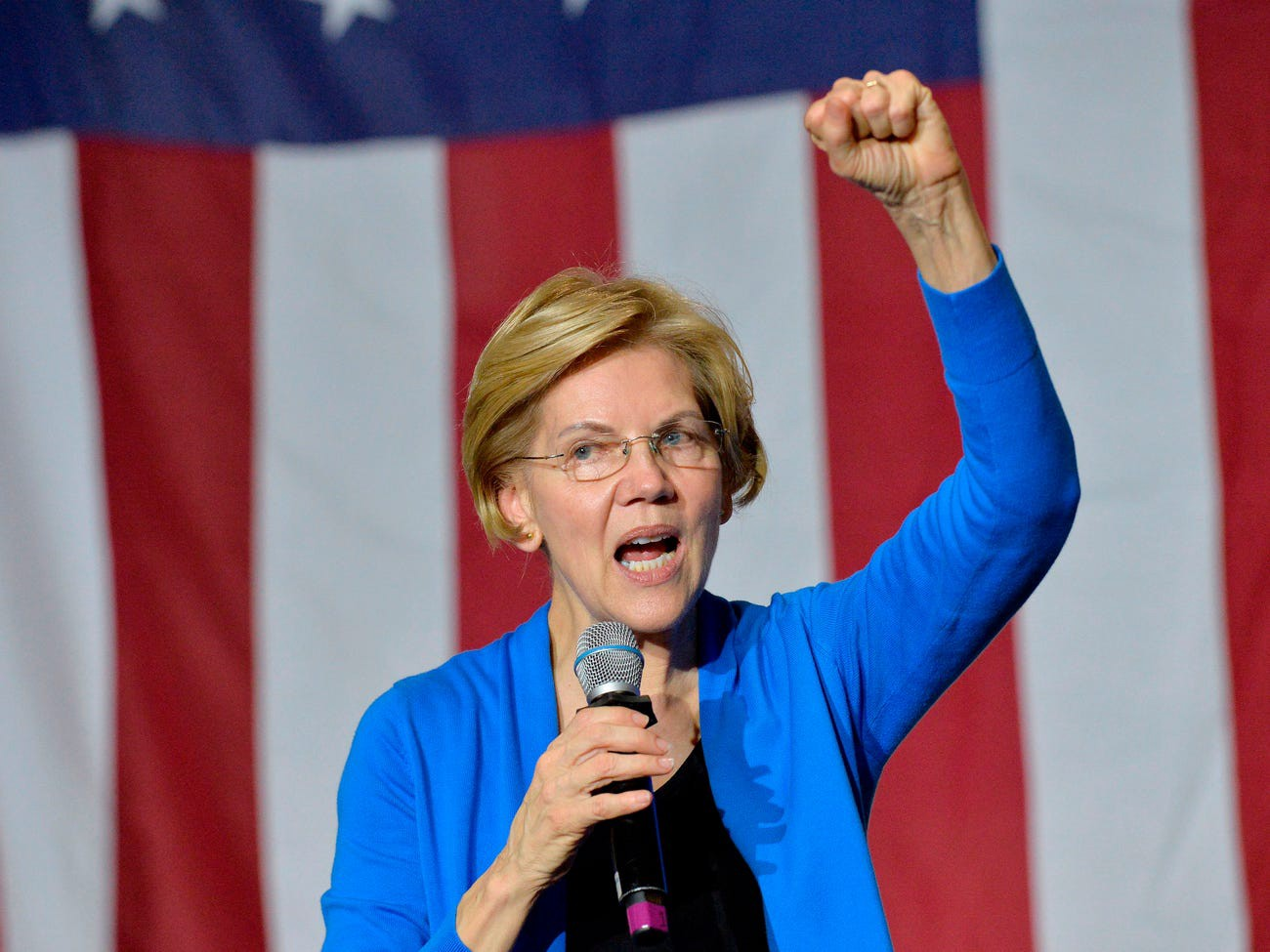 Senator Elizabeth Warren speaks at Exeter High School in Exeter, New Hampshire during a campaign stop town hall in November 11, 2019.
