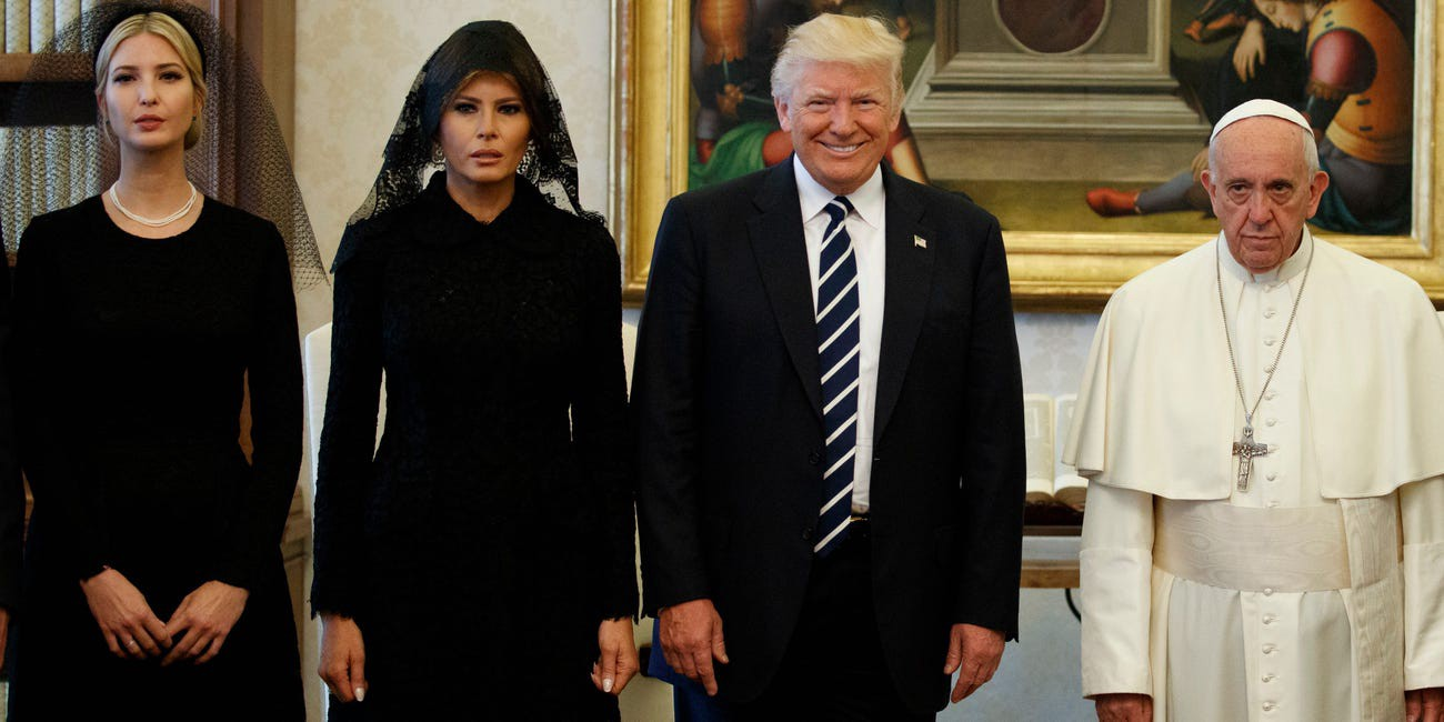 Ivanka Trump, first lady Melania Trump, and President Donald Trump stand with Pope Francis.