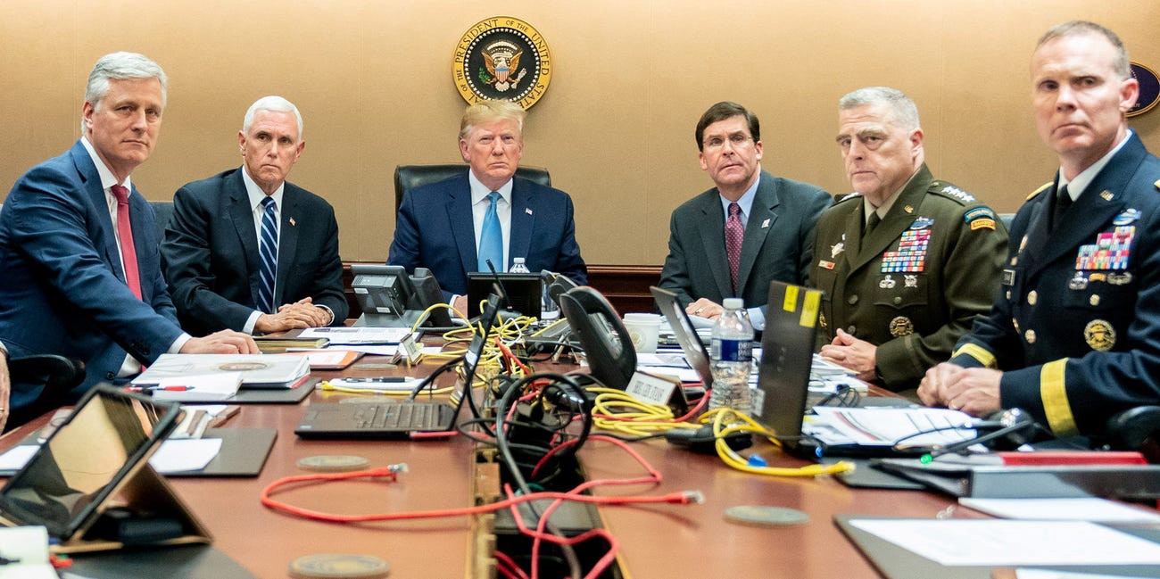 President Donald Trump, Vice President Mike Pence, Defense Secretary Mark Esper, and national security officials.