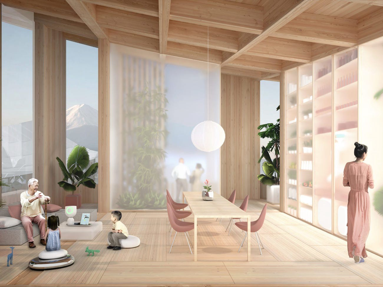 An artist's rendering of a home in Toyota's planned smart city.