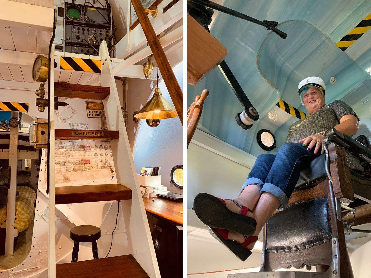 Left: Stairs ascend to the tiny home's upper level. Right: A guest sits in the captain's chair.