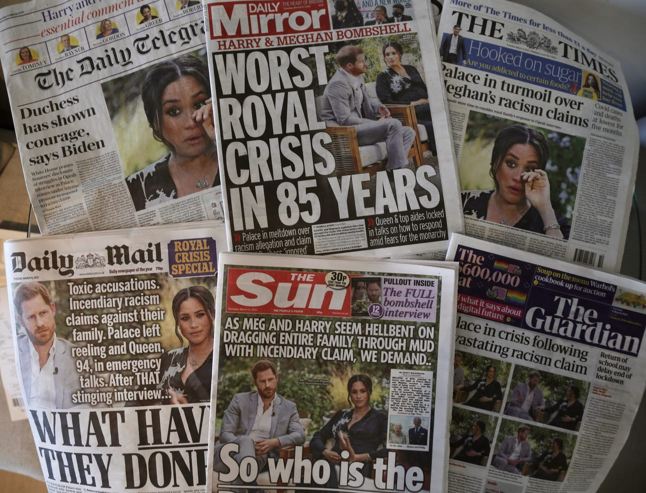 An arrangement of UK daily newspapers from March 9, 2021 show front page headlines reporting on Harry and Meghan's Oprah interview.