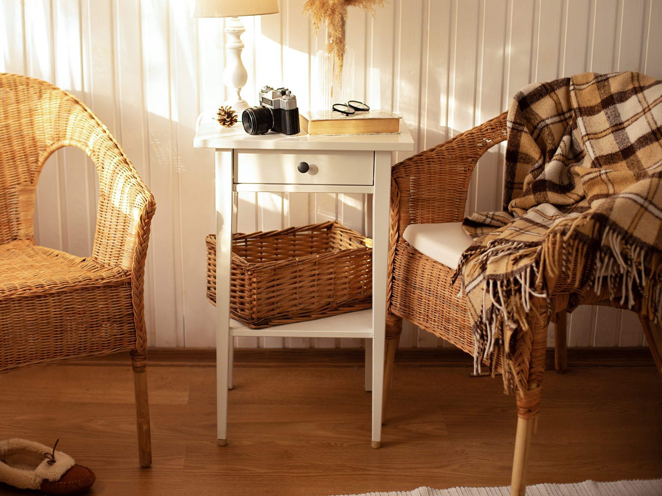 Wicker furniture.