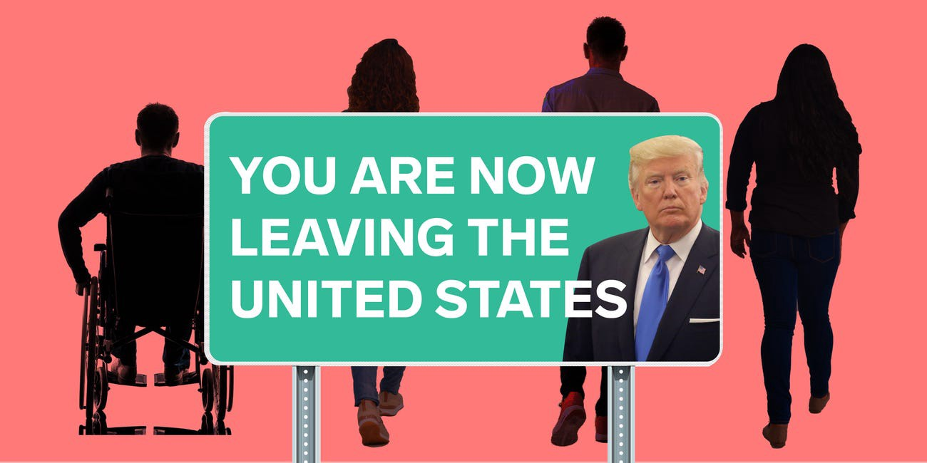 """An image shows four people walking away behind a sign that reads """"You are now leaving the United States."""""""