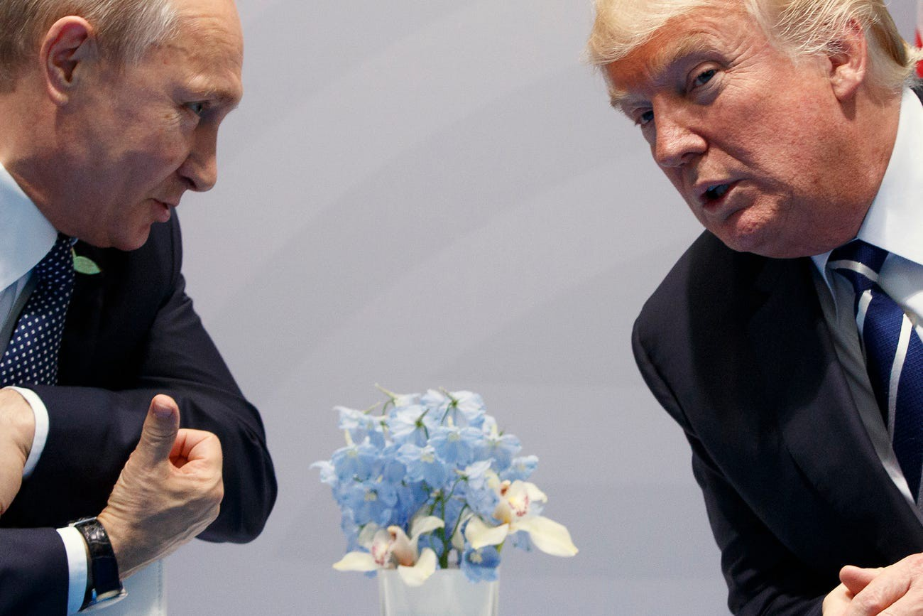Donald Trump meets with Russian President Vladimir Putin at the G20 Summit in Hamburg, Germany on July 7, 2017.