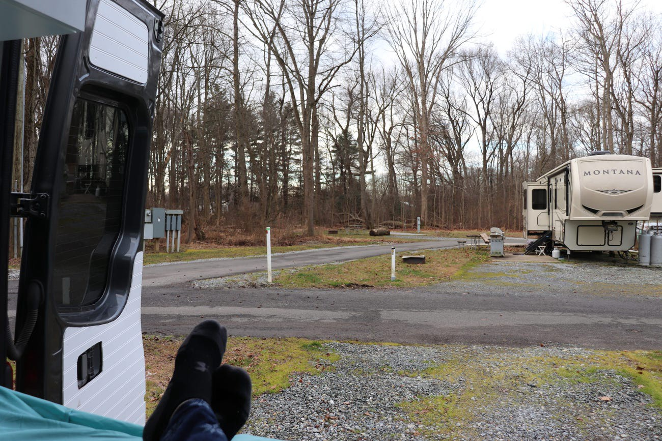 Looking out on a campground.