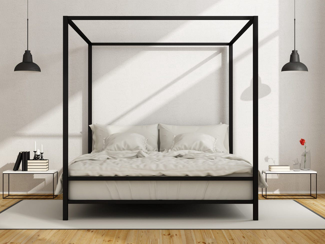 A bed with an iron frame.