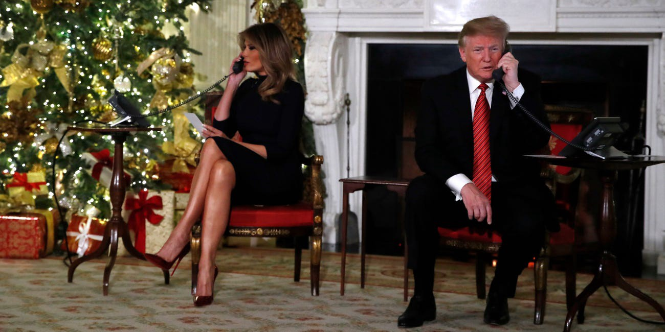 President Donald Trump and first lady Melania Trump each speak on the phone sharing updates to track Santa Claus's movements.