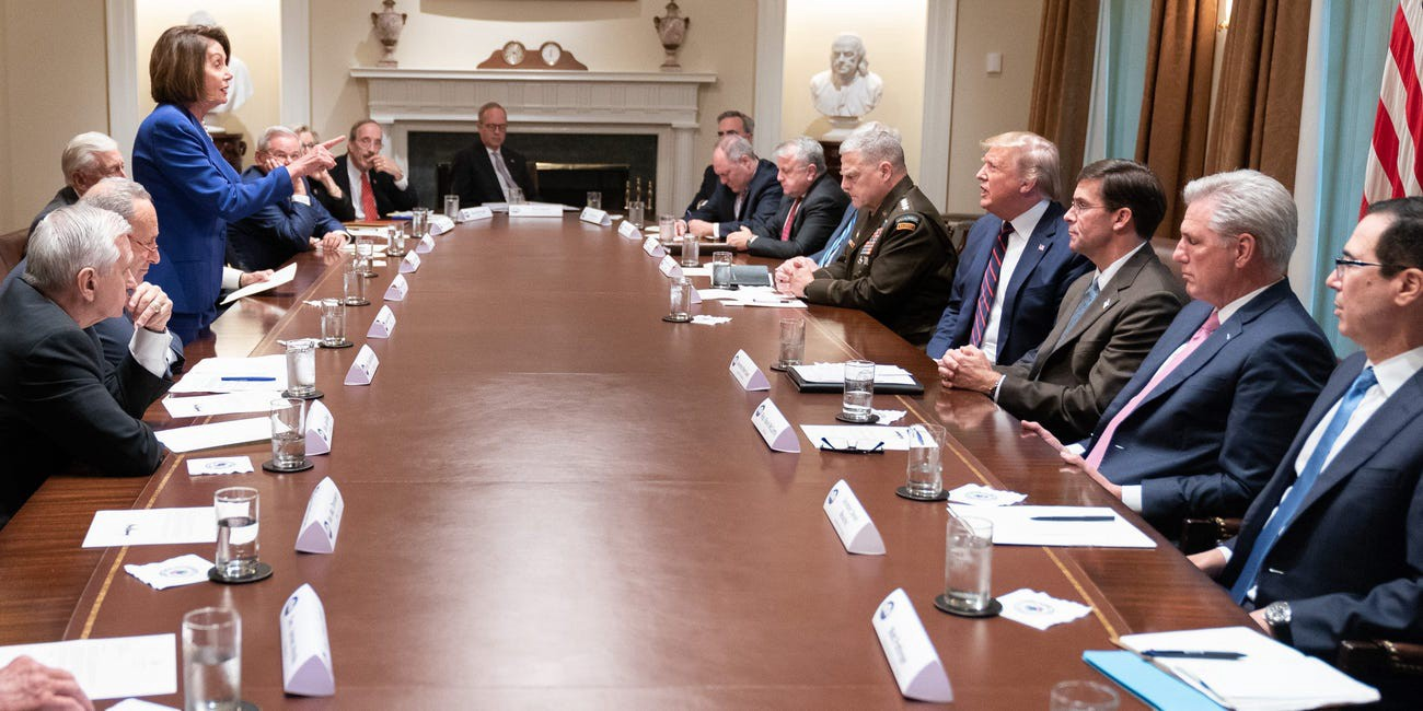 Donald Trump meets with House Speaker Nancy Pelosi and congressional leadership at the White House on October 16, 2019.