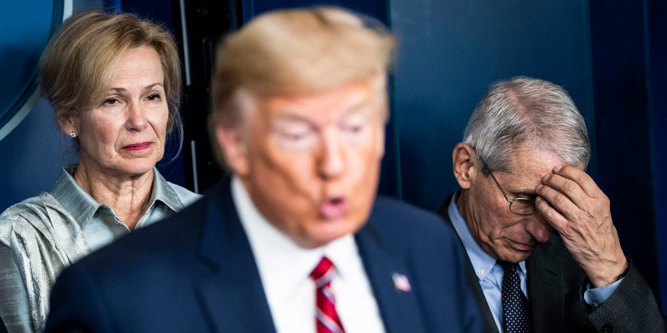 Dr. Deborah Birx and Dr. Anthony Fauci listen as President Donald Trump speaks with the coronavirus task force on March 20.