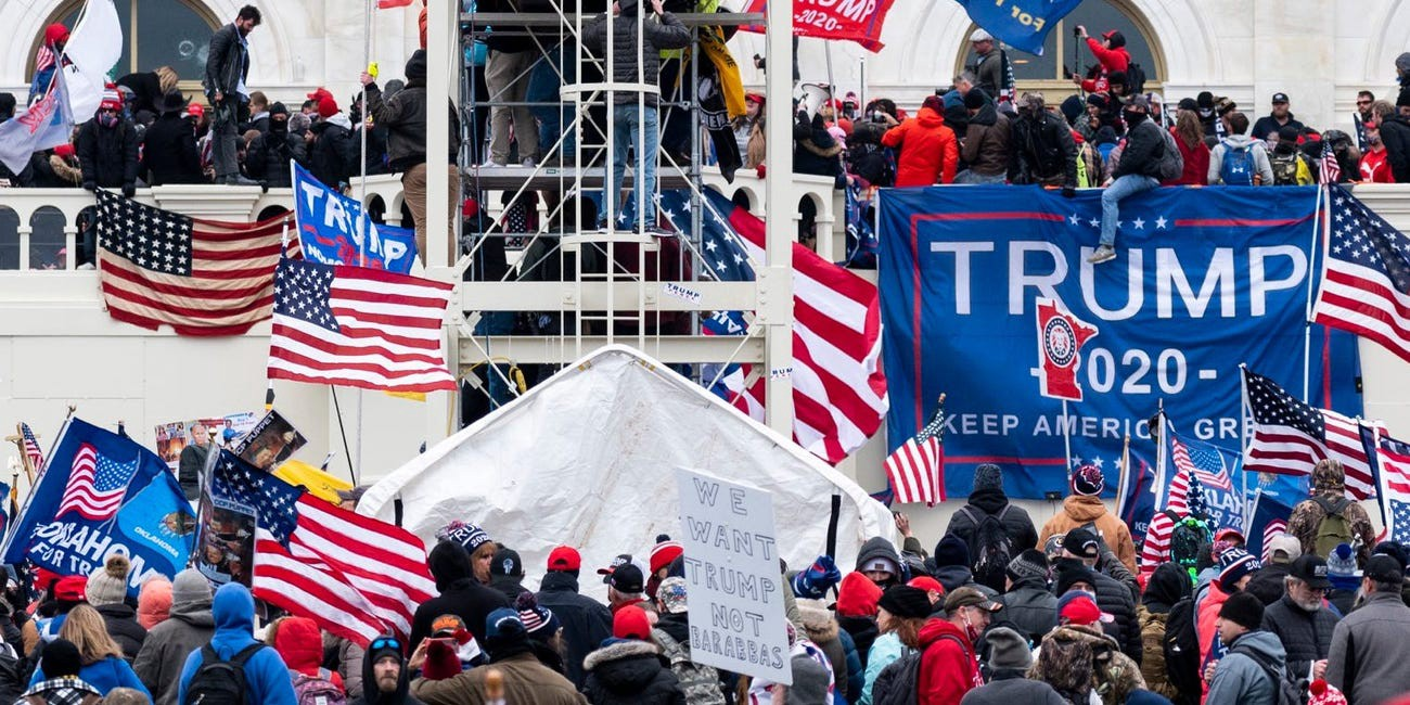 Trump supporters occupy the West Front of the Capitol and the inauguration stands on Wednesday, Jan. 6, 2021.