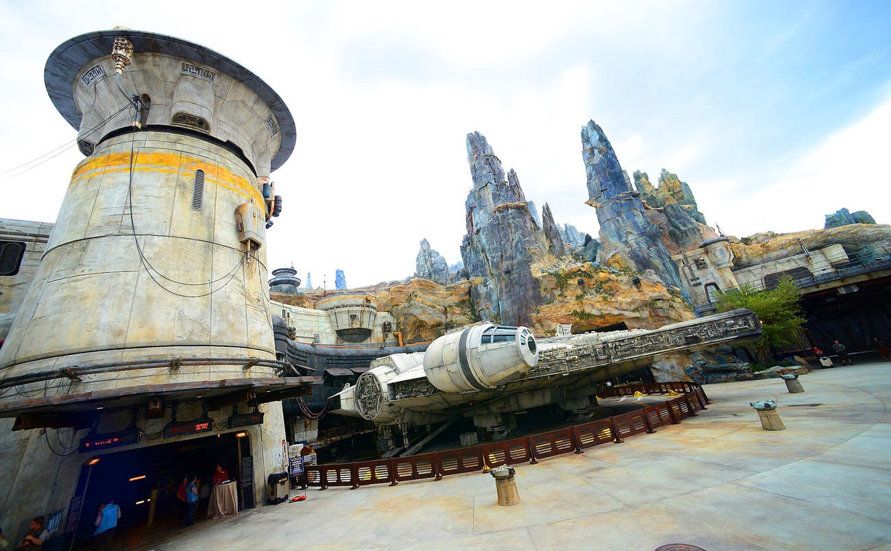 A view of Galaxy's Edge in Disney World's Hollywood Studios.