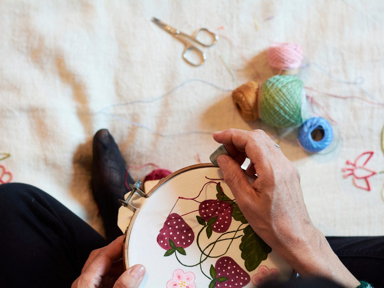 A hand-embroidered design.