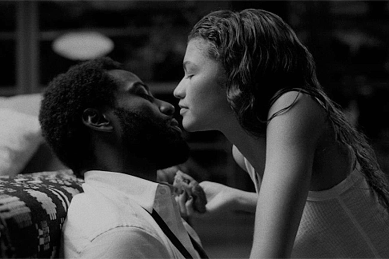 "John David Washington and Zendaya in ""Malcolm & Marie."""