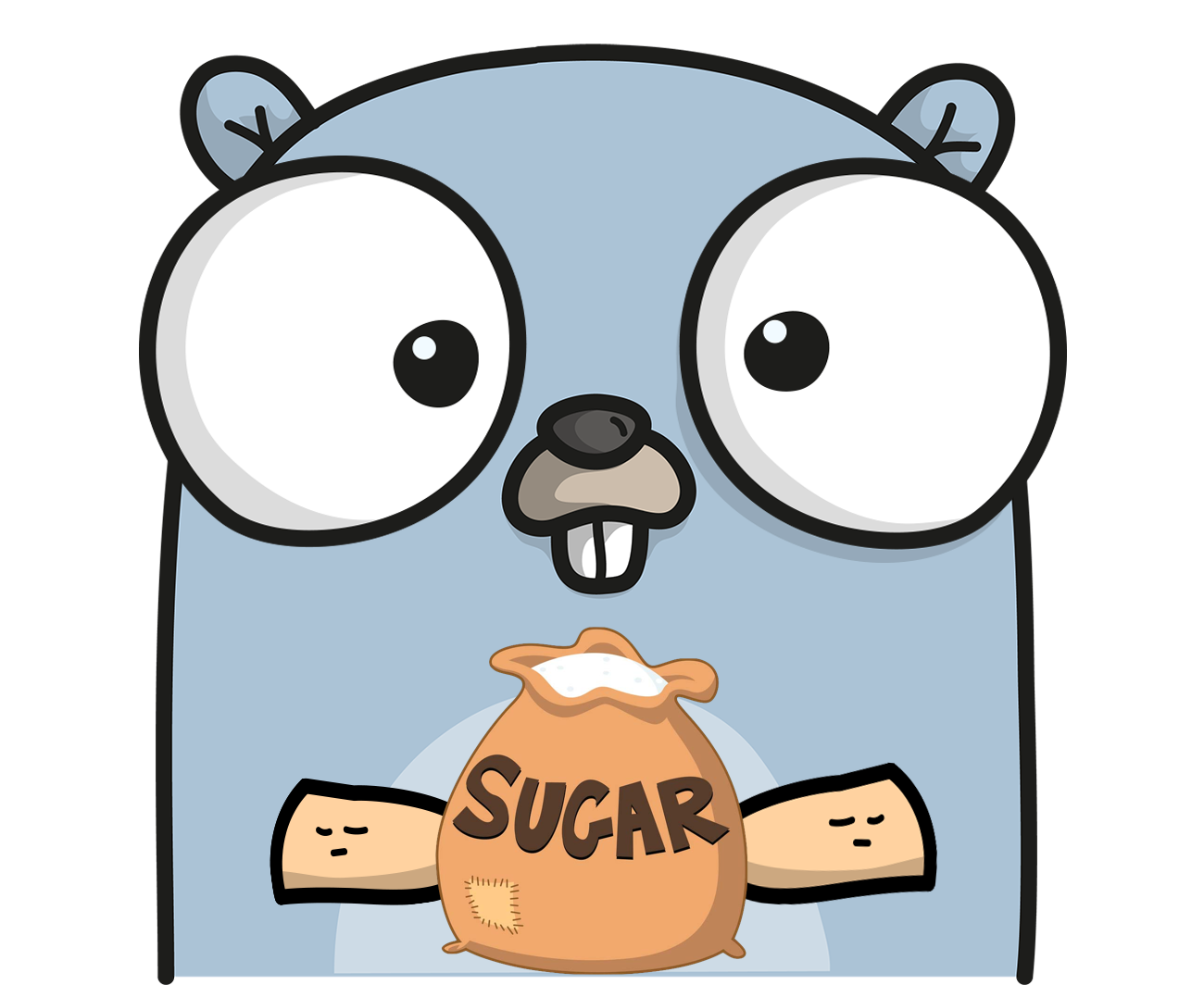 The Go language Gopher mascot holding a bag of sugar.