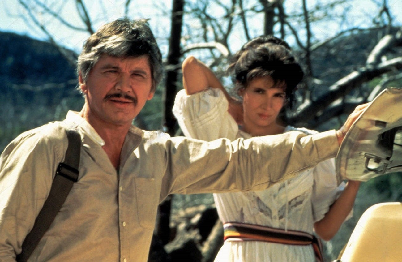 "Charles Bronson [""Holland,"" a former CIA assassin] and Theresa Saldana [""Rhiana Hidalgo,"" the wife of an executed dissident journalist] are on the run from Joseph Maher [""The Doctor,"" a third world torturer-for-hire] in director J. Lee Thompson's ""The Evil That Men Do,"" released on September 21, 1984."