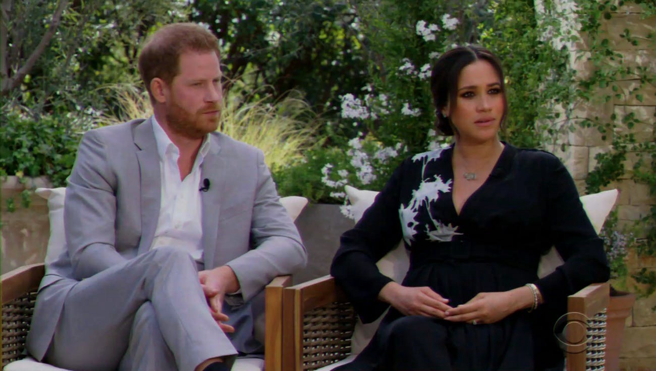 Prince Harry and Meghan Markle speaking to Oprah Winfrey.