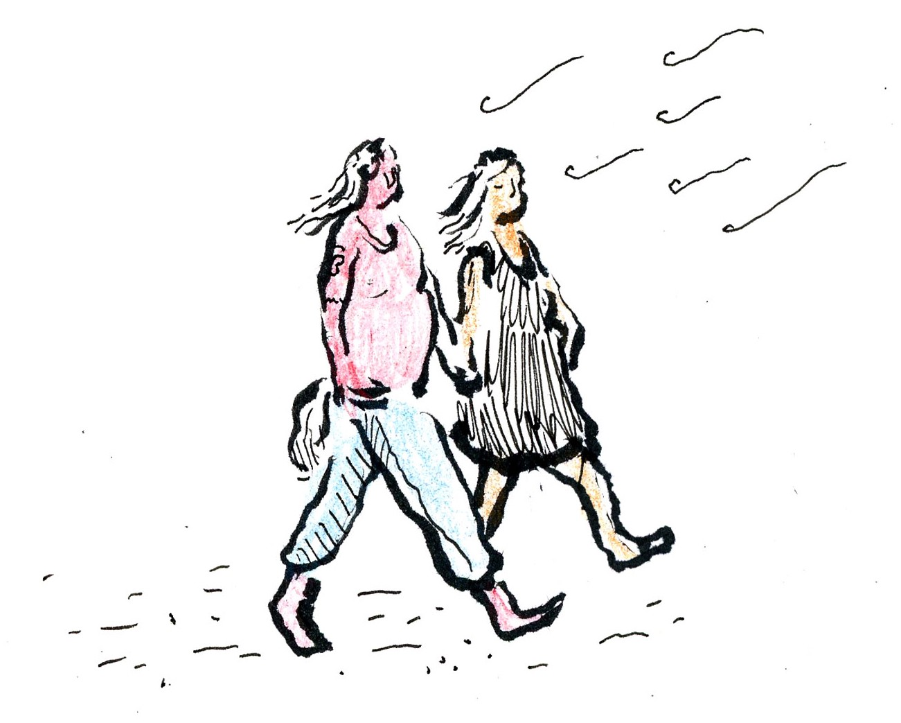 A drawing of a couple walking along the beach