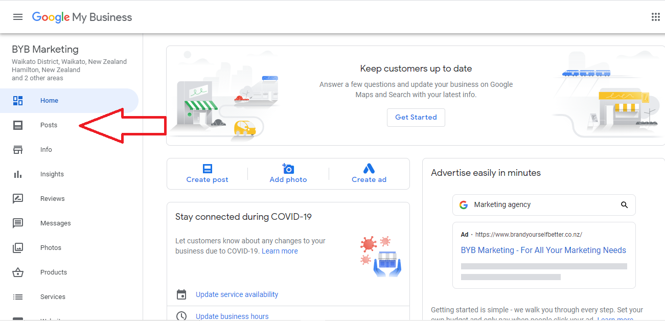 """Image of the Google My Business console highlighting the """"Posts"""" section."""