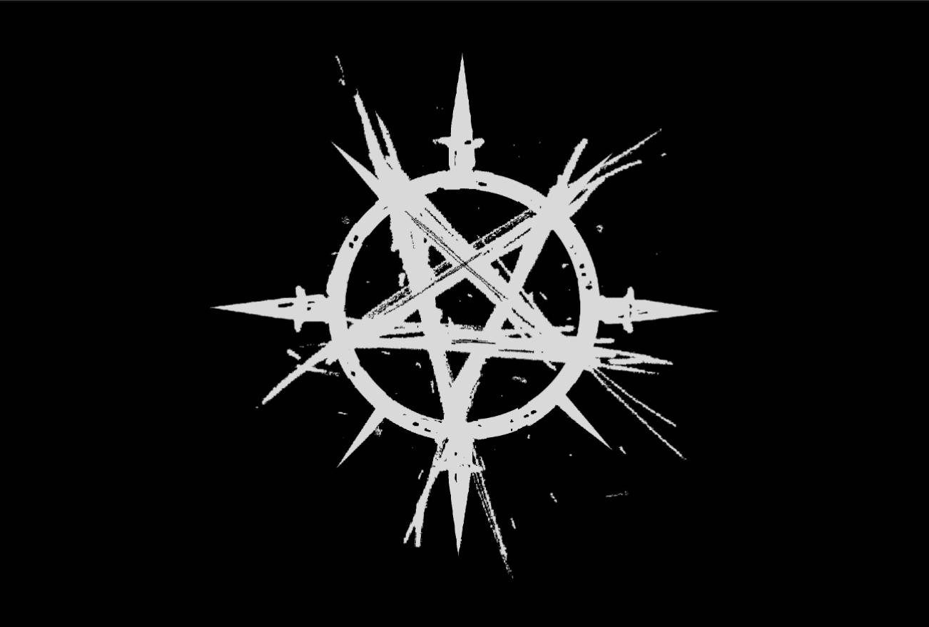 An off-white five point star in a circle with four points. The symbol is on a pitch black field. The image is actually sideways from a filler page in the book. Otherwise the image wouldn't center on all the various platforms.