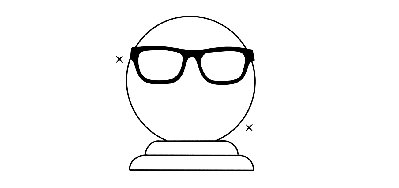 An illustration of a crystal ball with thick framed glasses over it.