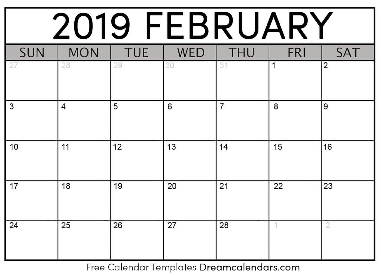 picture about Printable February Calendar titled Printable February 2019 Calendar Templates - Helena Orstem
