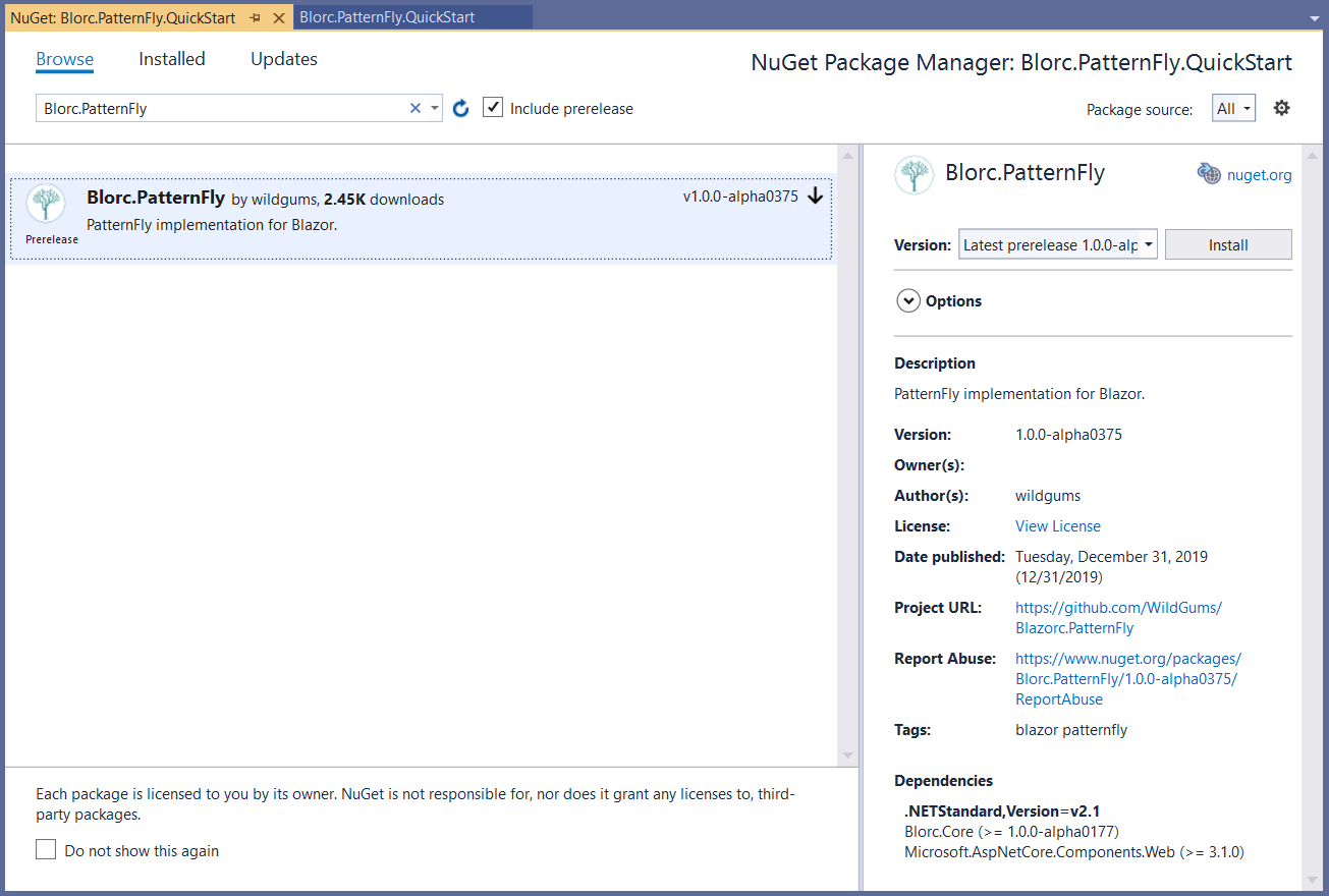 NuGet package manager window