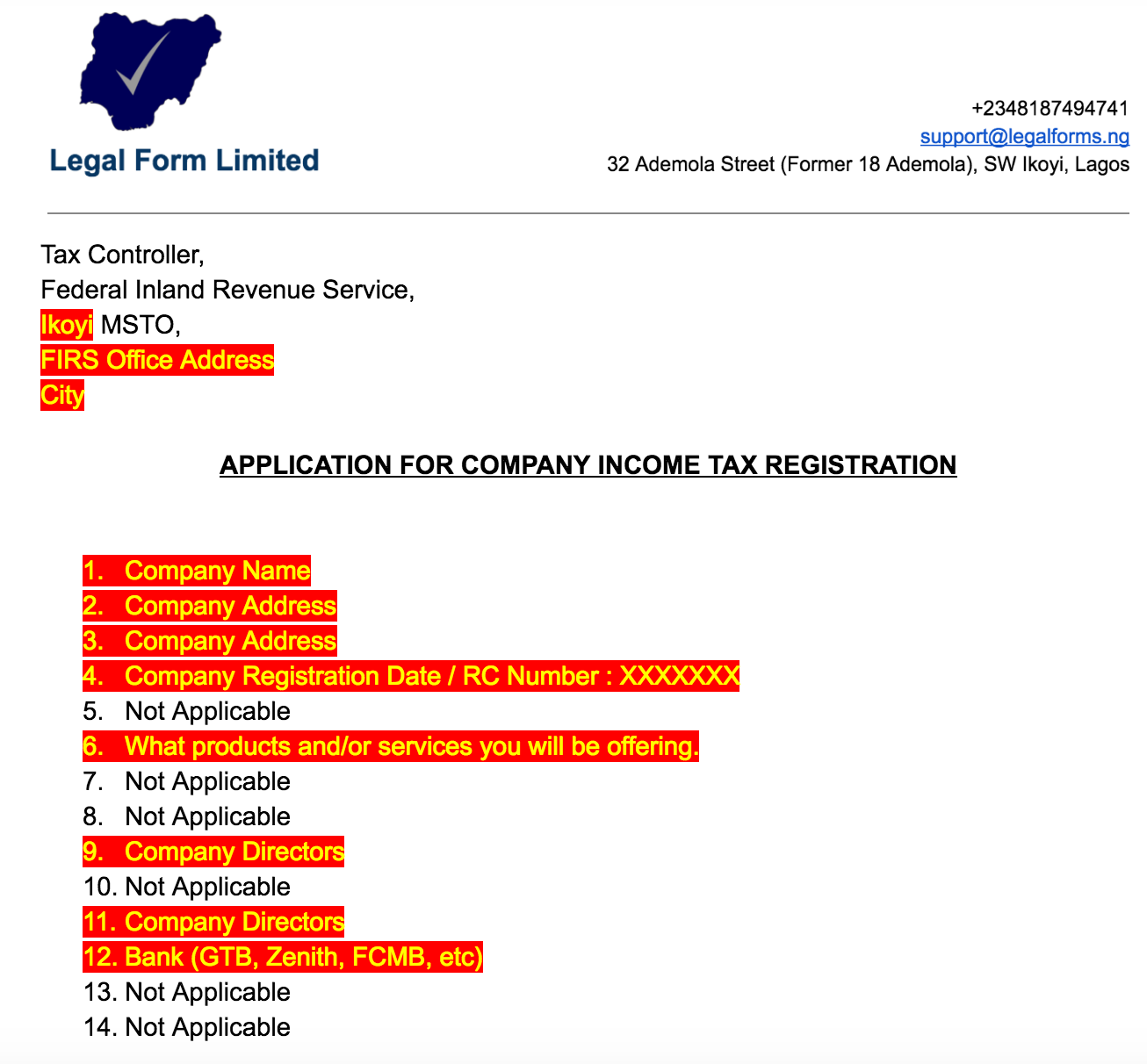 TIN Application Letter with FIRS Nigeria - Legal Forms - Medium