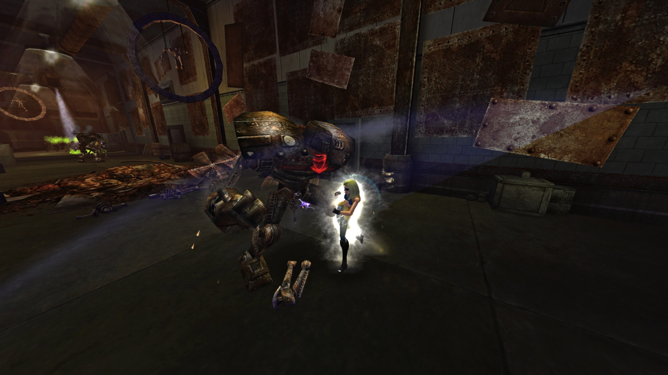 A City of Heroes player uses martial art abilities to battle a giant robotic foe.