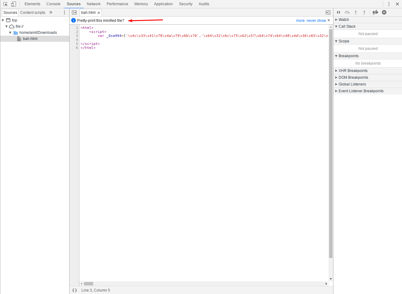 Debugging malicious windows scriptlets with Google chrome