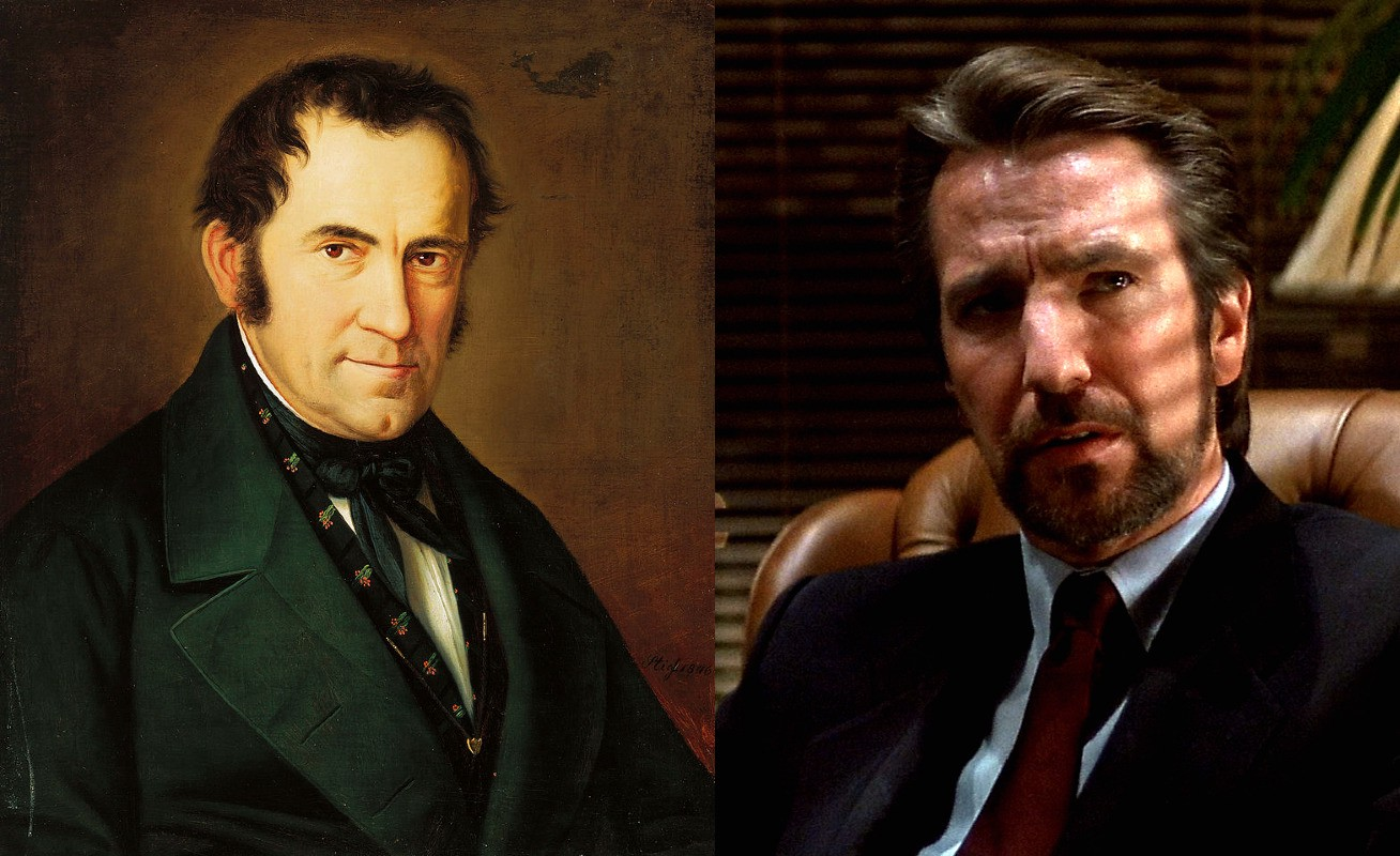Photo of Franz Gruber beside a photo of Die Hard's Hans Gruber