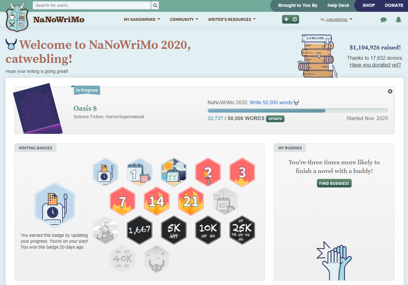 A screenshot of the NaNoWriMo homepage.