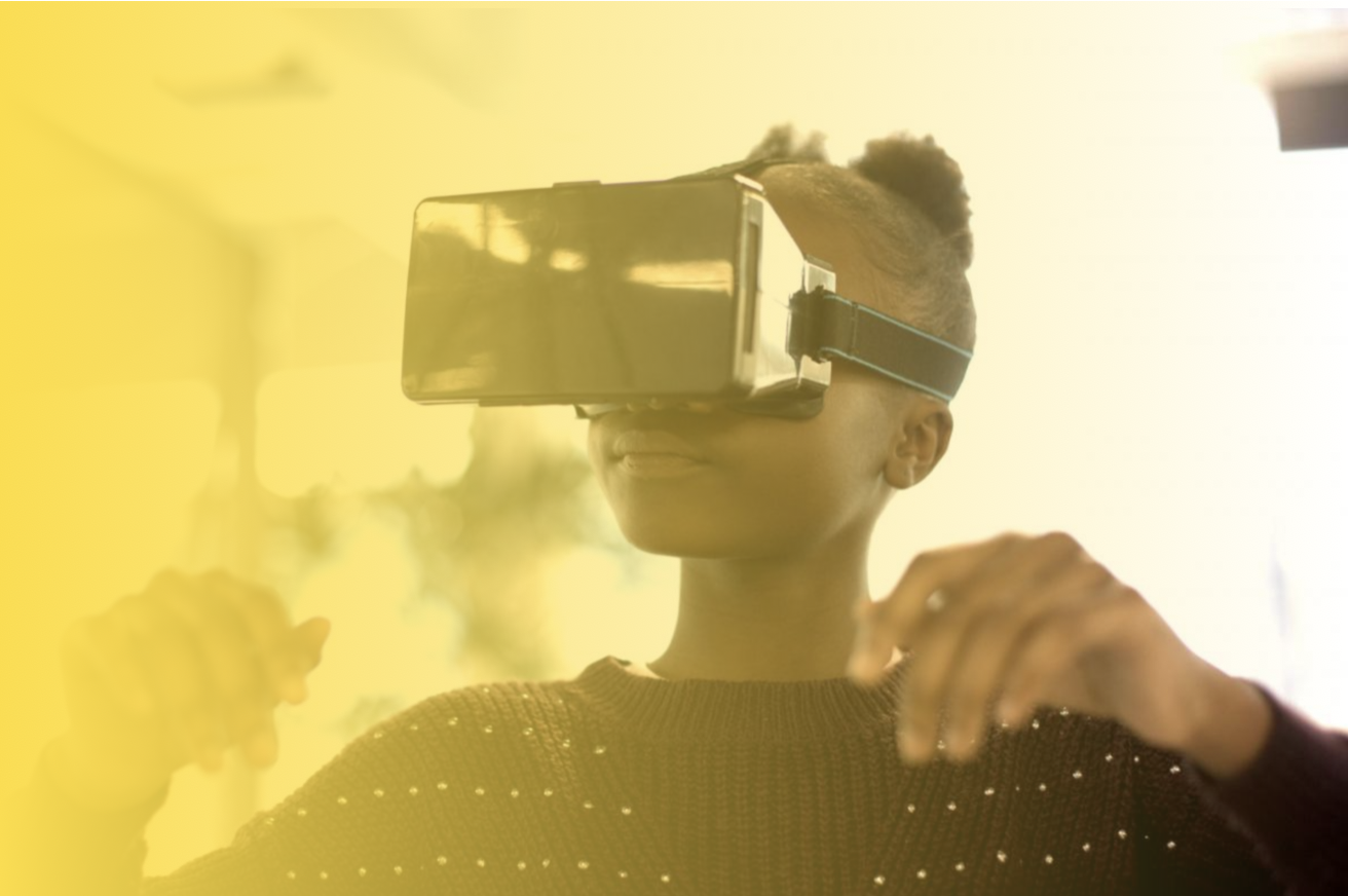 Girl wearing VR headset with a yellow fading overlay