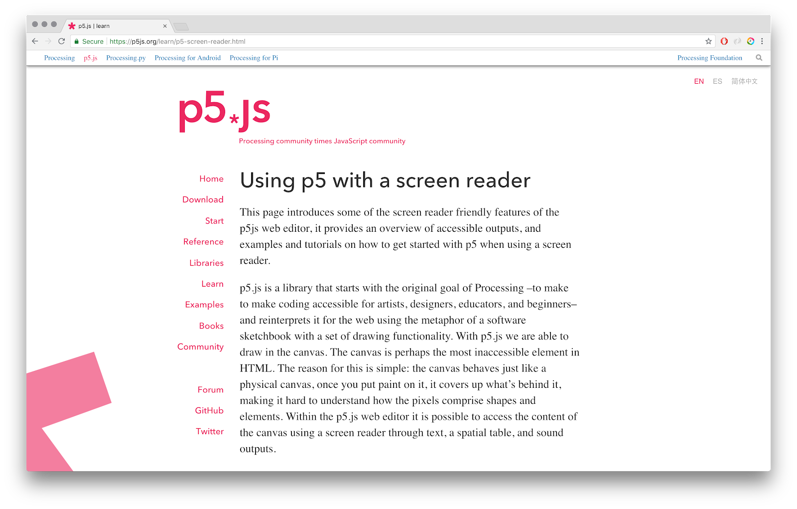 Working on the p5 accessibility Project - Processing Foundation - Medium