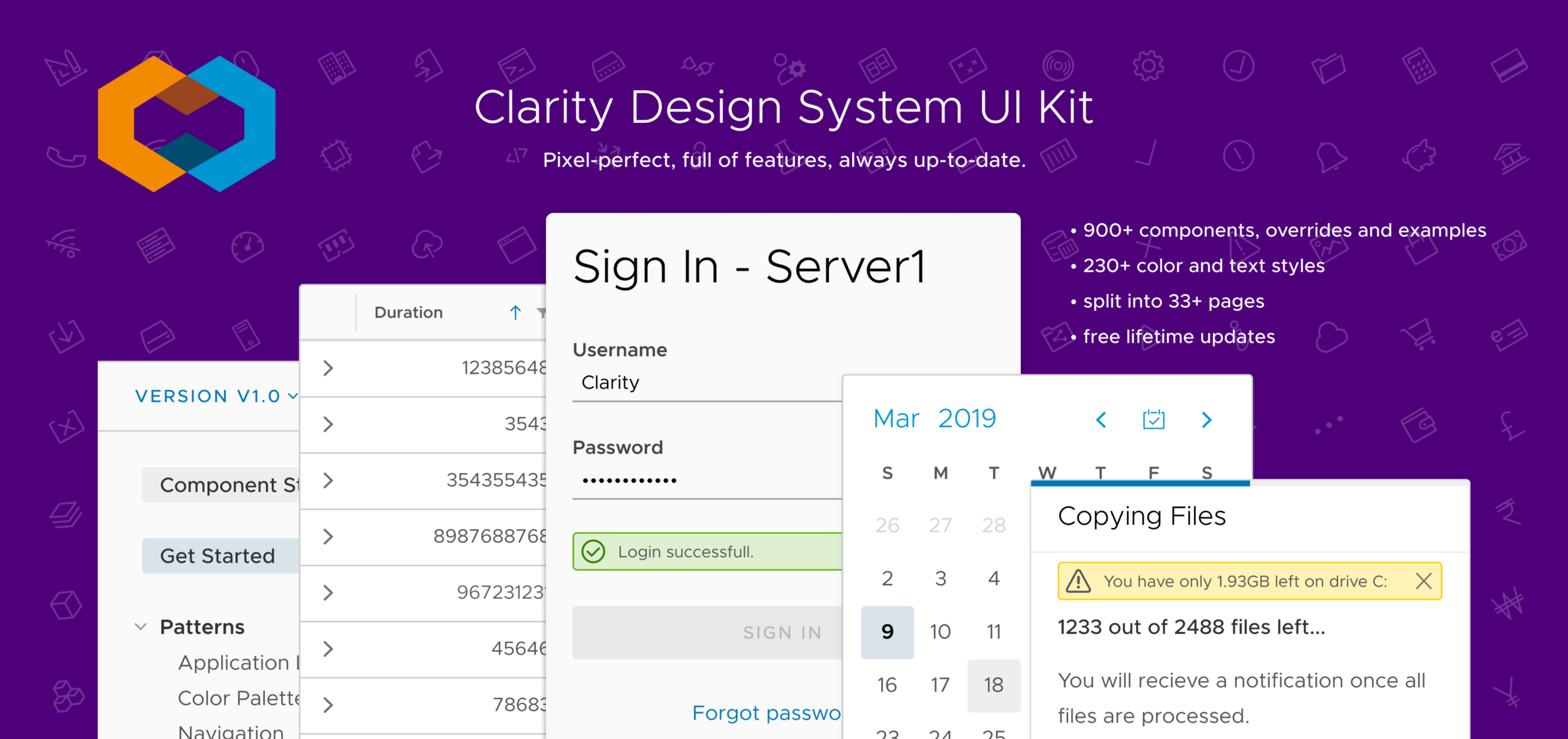 Clarity UI Kit for Figma Light Theme