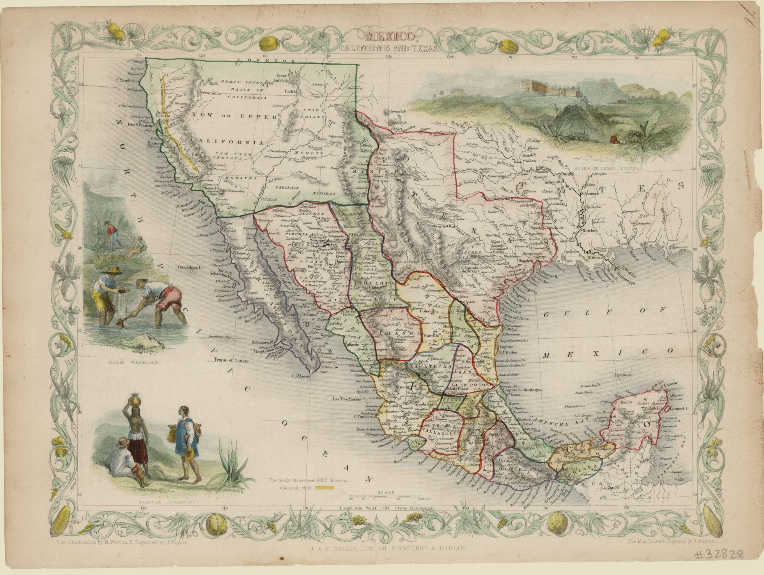 Map Of Texas New Mexico And Colorado.Mexico California And Texas 1851 Save Texas History Medium