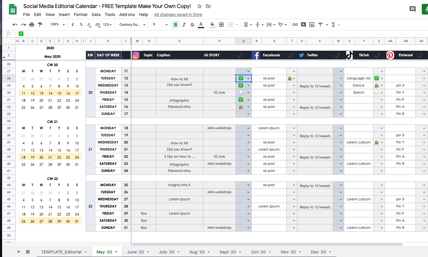 How To Plan Your Social Media in 2020 as an individual or small company —  FREE Google Sheets Editorial Calendar Template | by Gracia Kleijnen | Google  Sheets Geeks | Medium