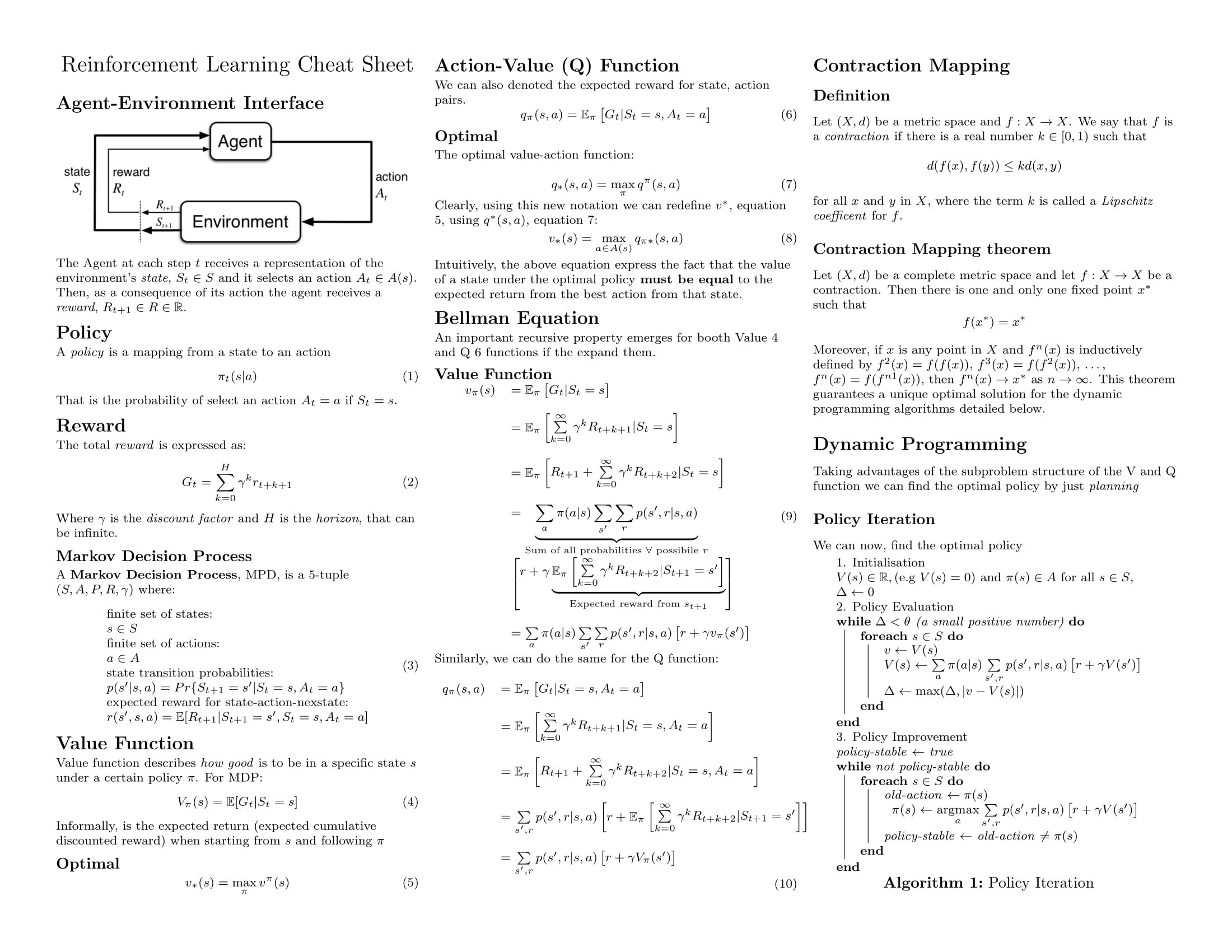 Reinforcement Learning Cheat Sheet Towards Data Science