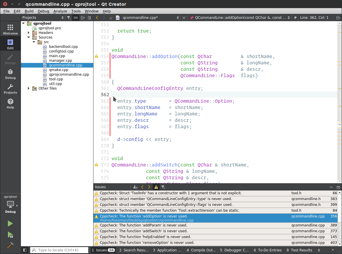 Using Cppcheck static analyzer tool in Qt Creator IDE
