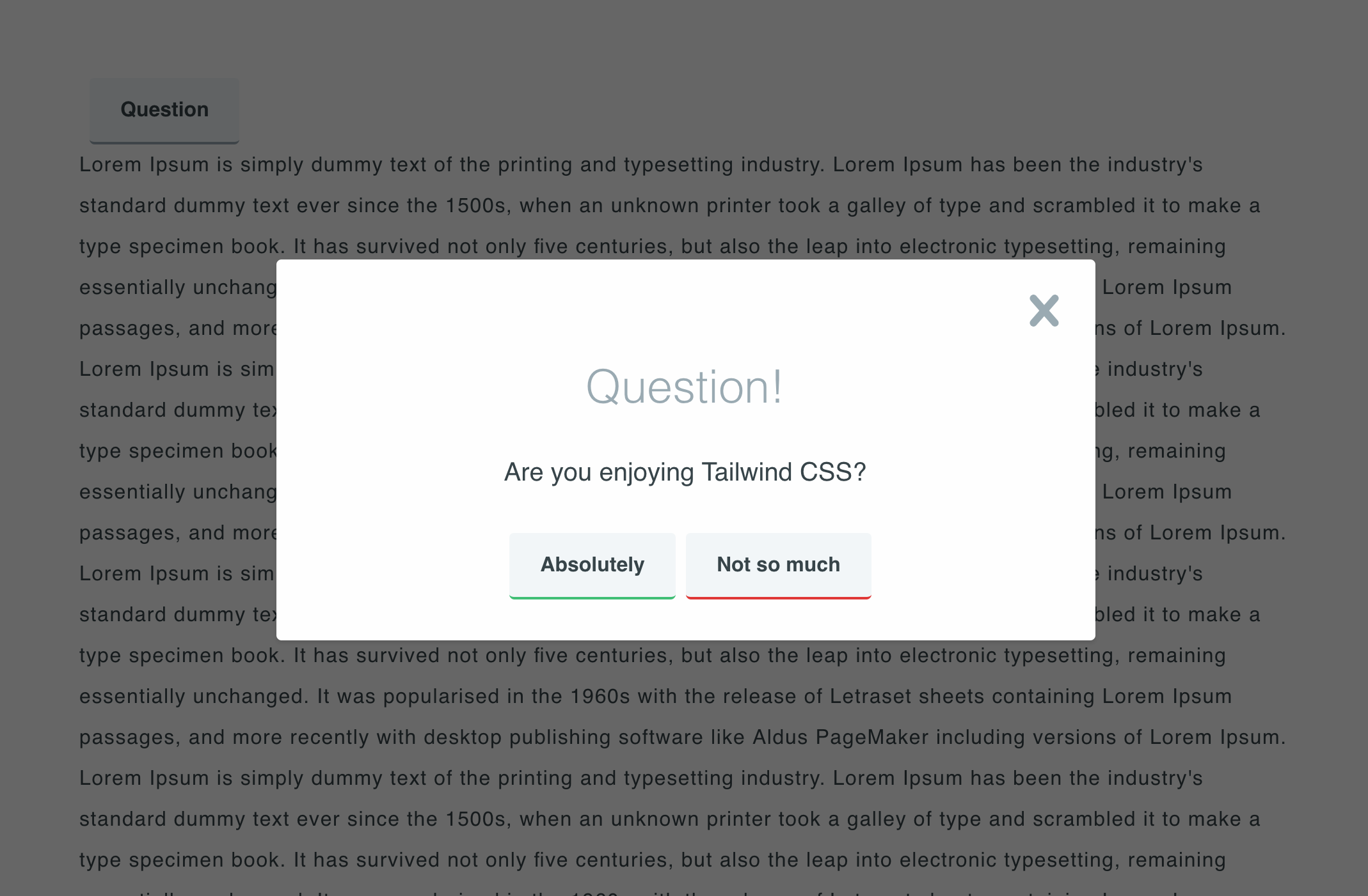 Creating a modal dialog with Tailwind CSS - codeburst