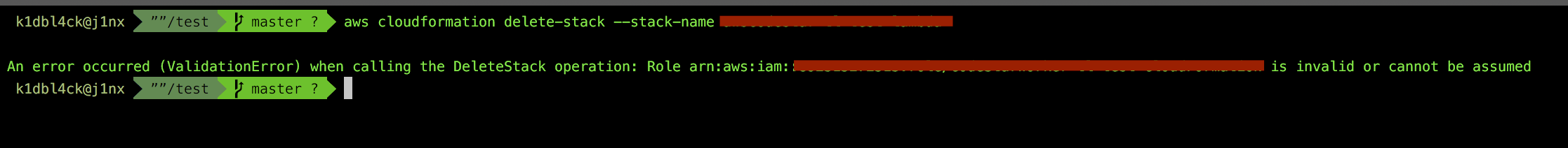 AWS Cloud Formation: role (arn:aws:iam:xxx) is invalid or cannot be