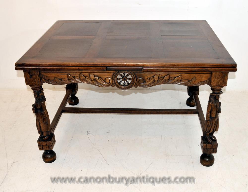 Super Antique French Provincial Extending Oak Dining Table Carved Bralicious Painted Fabric Chair Ideas Braliciousco