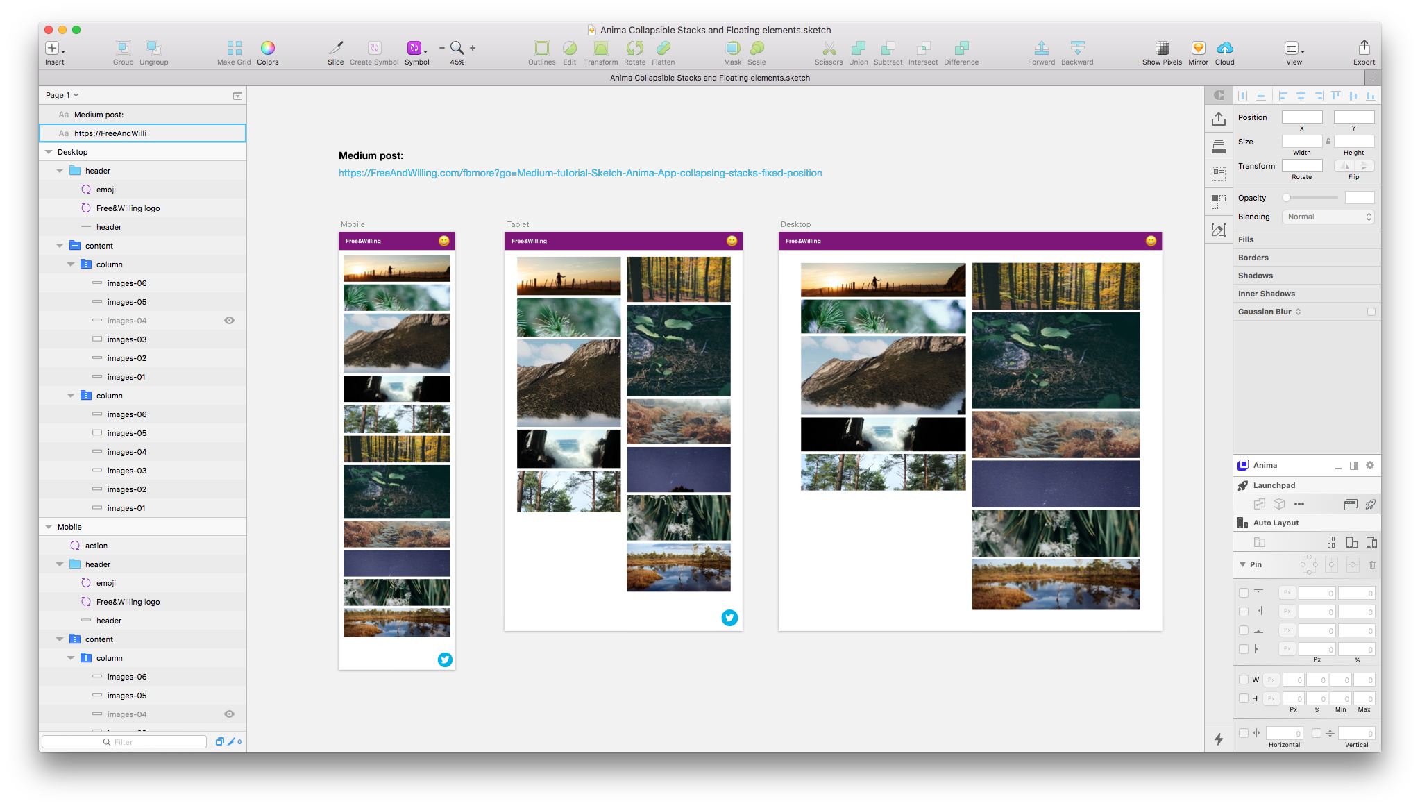 Tutorial: Sketch & Anima App, Collapsing Stacks, Fixed Position & More