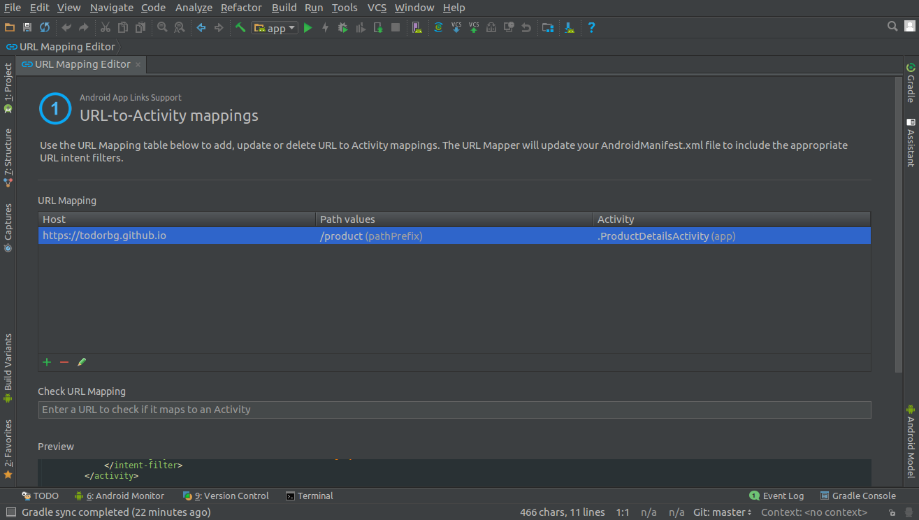 How to use App Links Assistant in Android Studio 2 3