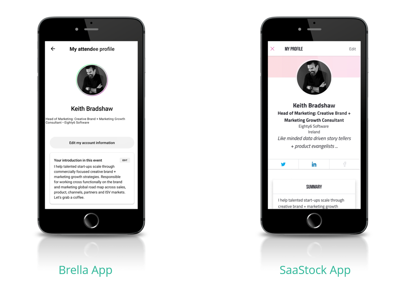 Picture of two iPhones with side by side. There are 2 great SaaStock resources—Brella and SaaStock App.