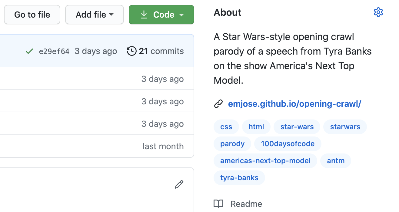 About section from one of my Github repos.
