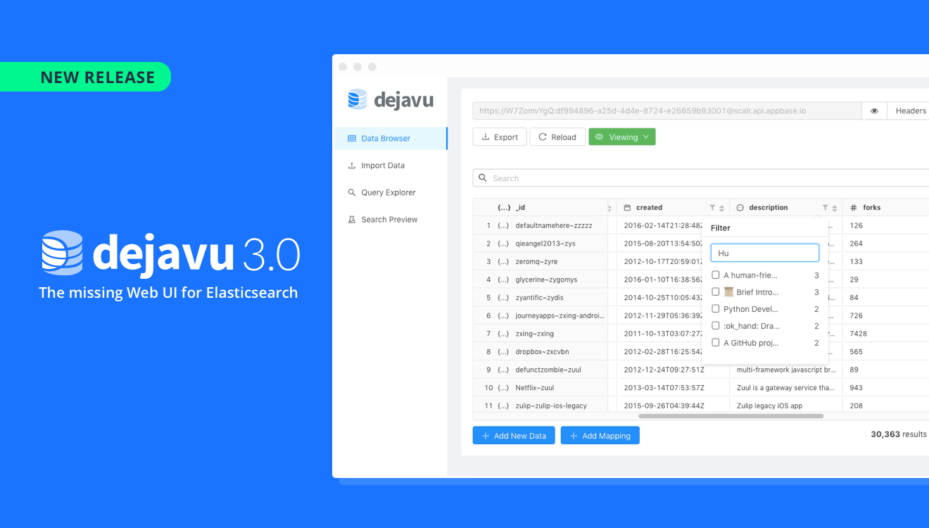 Dejavu 3 0: The missing Web UI for Elasticsearch - All