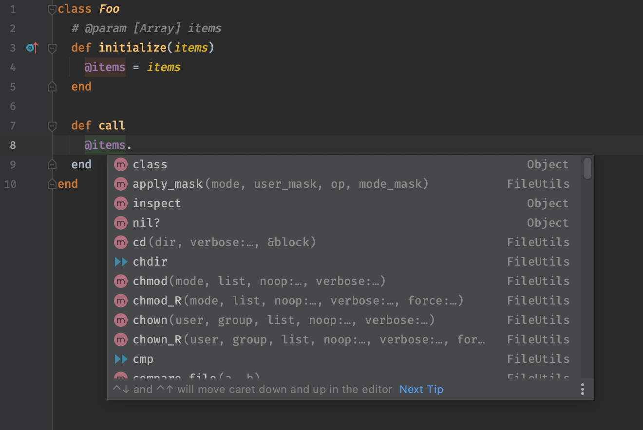 Screenshot of RubyMine showing that it's default list of suggestions are unhelpful.